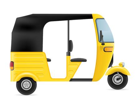motor rickshaw tuk-tuk indian taxi transport vector illustration isolated on white background