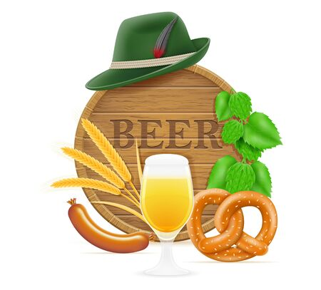 elements and objects meaning oktoberfest beer festival vector illustration isolated on white background Stok Fotoğraf