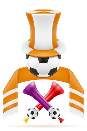 Satz Fußball-Fußball-Fanartikel und Zubehör-Vektor-Illustration isoliert auf weißem Hintergrund white