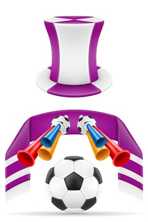 set of soccer football fan items and accessories vector illustration isolated on white background