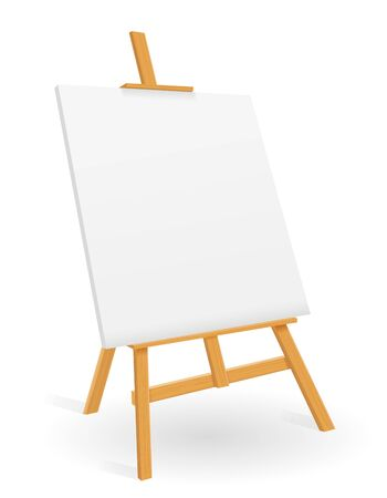 wooden easel for painting and drawing with a blank sheet of paper template for design vector illustration isolated on white background 写真素材