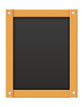 wooden black menu board blank template for design vector illustration isolated on white background Stok Fotoğraf