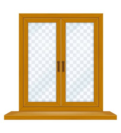 closed wooden window with transparent glass for design vector illustration isolated on white background