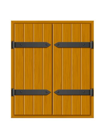closed shutter wooden window for design vector illustration isolated on white background