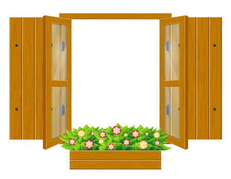 open wooden window with shutters and transparent glass for design vector illustration isolated on white background