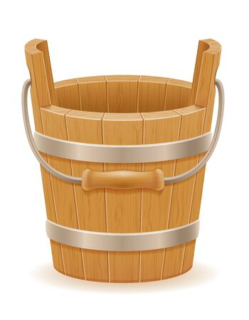 wooden bucket with wood texture old retro vintage vector illustration isolated on white background Stock fotó - 133700274