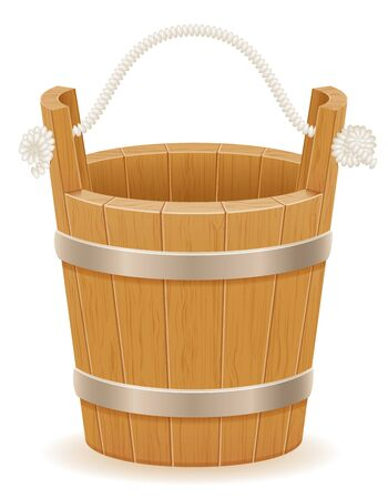 wooden bucket with wood texture old retro vintage vector illustration isolated on white background Stock fotó - 133700273