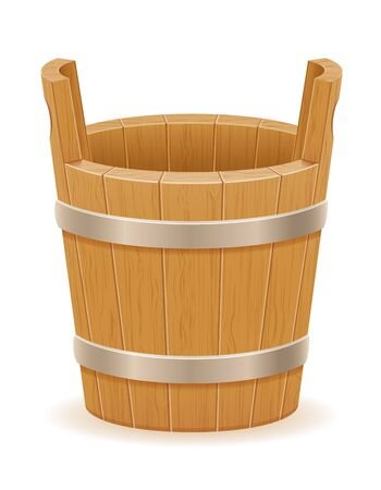 wooden bucket with wood texture old retro vintage vector illustration isolated on white background Stock fotó - 133700283