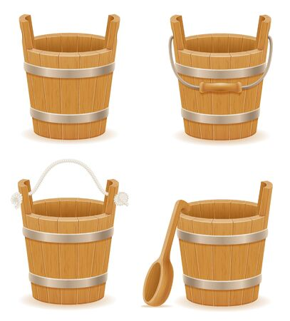 wooden bucket with wood texture old retro vintage vector illustration isolated on white background Stock fotó - 133700280