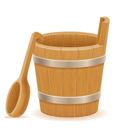 wooden bucket with wood texture old retro vintage vector illustration isolated on white background