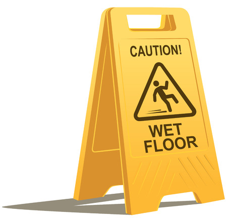 slippery warning symbol:   wet floor caution sign Illustration