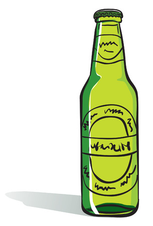 green glass bottle:  beer bottle