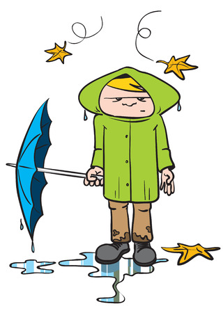 cartoon illustration of a young man in autumn clothes on a rainy autumn day