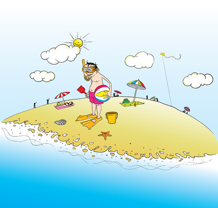 cartoon illustration of a guy at the beach Illustration
