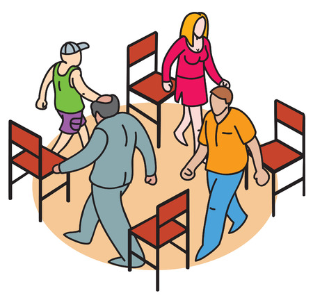 genders: vector illustration of 4 people of different ages and genders walking between 4 chairs