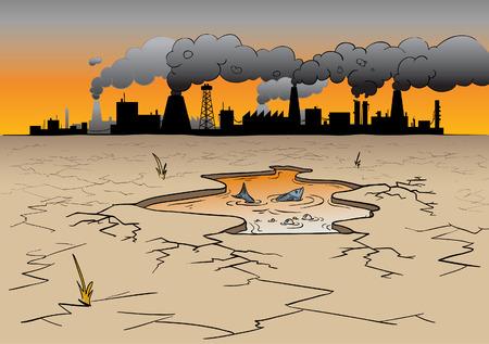 Ilustración de un lugar donde las fábricas causan contaminación ambiental y un pez a punto de morir de vectores Foto de archivo - 8971474