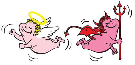 vector cartoon of an angel and a devil