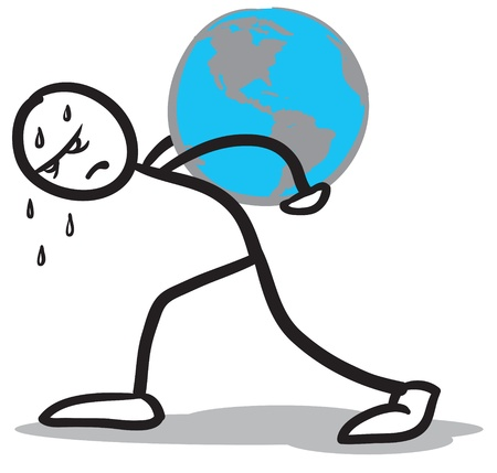 a stickman hardly carrying the earth on his back