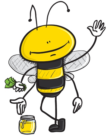 cartoon illustration of a bee holding dollars in his hand while selling honey