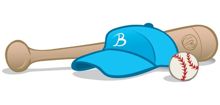 vector illustration of baseball equipments, a cap, a ball and a baseball bat. Illustration