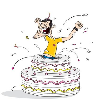 to cake layer: fumetto illustrazione di un uomo saltando fuori da una torta di compleanno