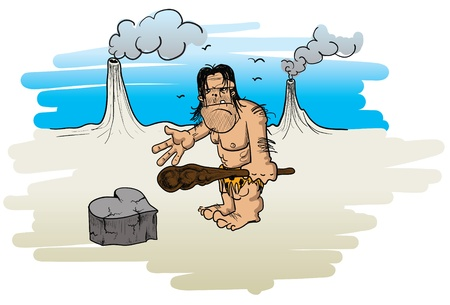 cartoon illustration of a caveman fallen in love, showing a heart he made by rock