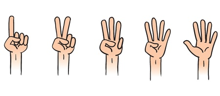 four objects: Cartoon illustration of counting hands from 1 to 5