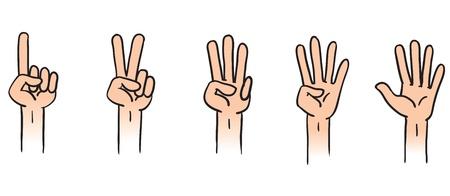 cartoon numbers: Cartoon ilustraci�n de contar las manos 1 a 5