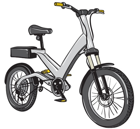 shock absorber: cartoon illustration of an electric bicycle