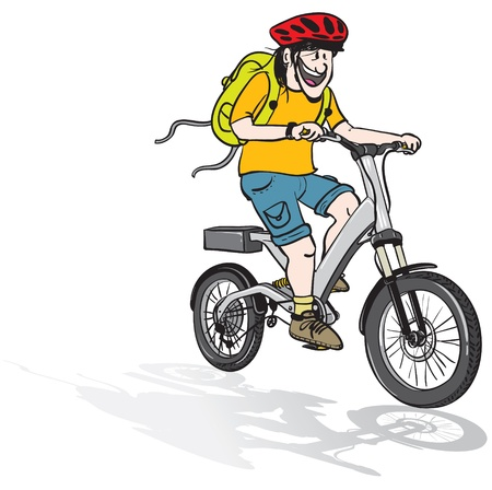 cartoon illustration of a young man riding an electric bicycle, wearing a helmet and a back pack