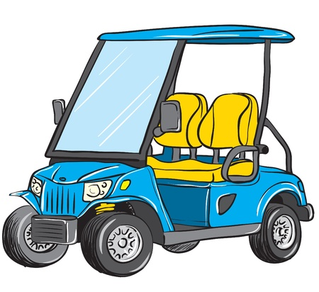 safety glasses: vector illustration of an electric golf cart