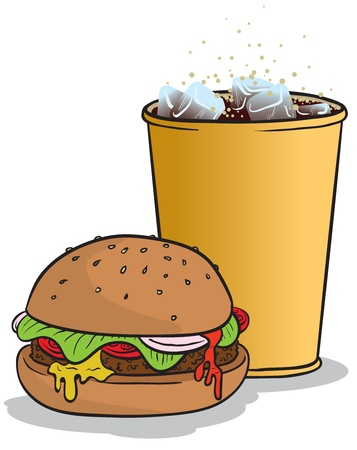 vector illustration of a hamburger and a glass of coke with ice. Illustration