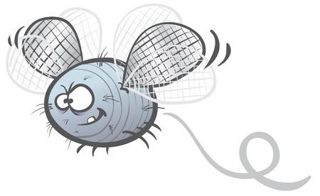 cartoon illustration of a fat  fly soaring Illustration