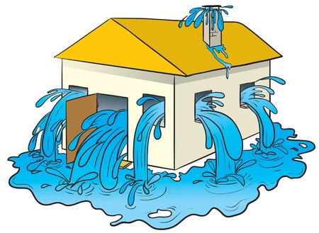 flood: vector illustration of a house with water pouring out of its windows, door and chimney. Illustration