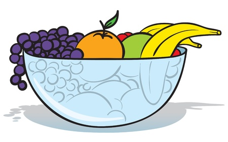 banana leaf: illustration of a glass bowl full of different fruits