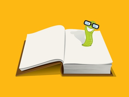 smiling book worm Vector