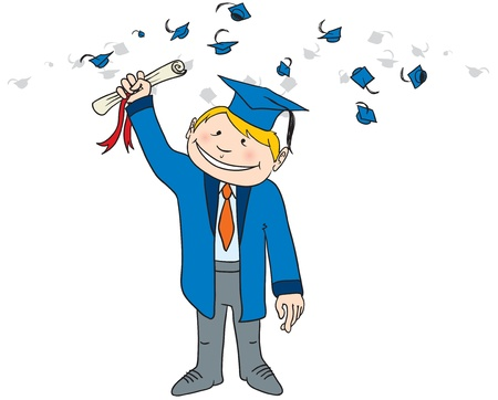 Vector illustration of a smiling newly graduated student Illustration