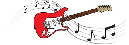 vector illustration of a guitar and musical notes Illustration