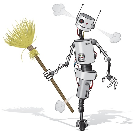 whisk broom: cartoon illustration of a tired robot cleaner