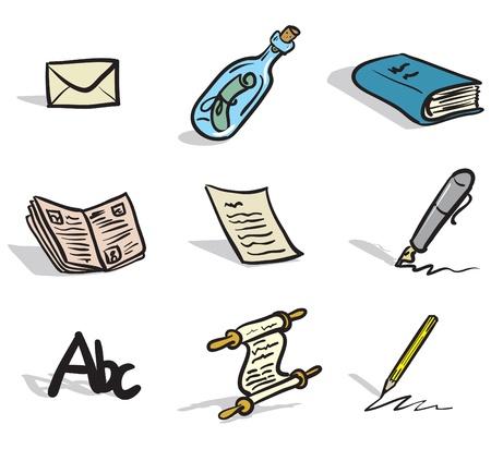 communication �crite: dessins d'ic�nes � la communication �crite dans une esquisse, comme le style Illustration