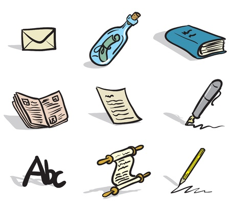 drawings of written communication icons in a sketch like style
