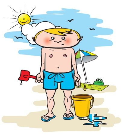 cartoon illustration of a young man at the beach