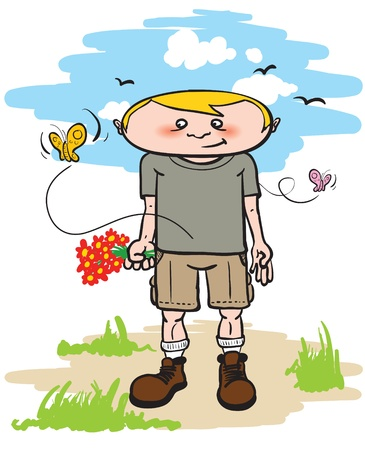 cartoon illustration of a young man holding flowers on a spring day with butterflies around him