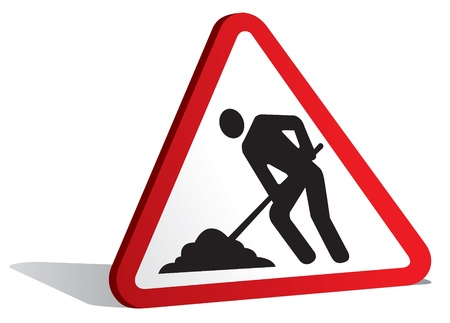 warning triangle: illustration of men at work sign Illustration