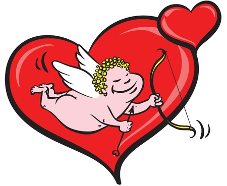 eros holding a bow and arrow and flying in front  of heart background  Illustration