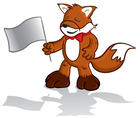 illustration of a fox mascot holding a flag in his hand