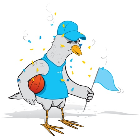 Illustration of a bird who is fan of a basketball team celebrating their championship