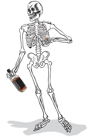 a skeleton holding a whisky bottle and a shot glass, about to drink it  Illustration