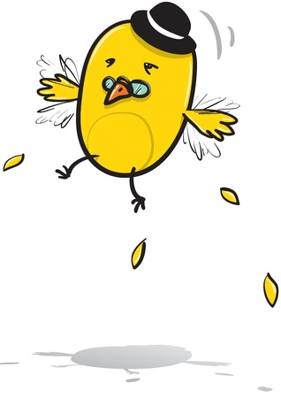 cartoon illustration of Mr  Bird hardly trying to fly