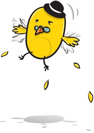 cartoon illustration of Mr  Bird hardly trying to fly